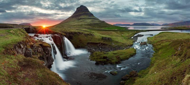 Iceland Landscape spring panorama at sunset